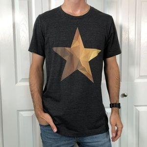 Hamilton Full Gold Star Grey Graphic Tee T-Shirt L